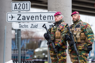 Image: Belgian Army soldiers patrol at Zaventem Airport in Brussels