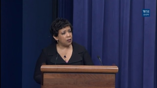 Image: U.S. Attorney General Loretta Lynch addresses a convening on Women and the Criminal Justice System