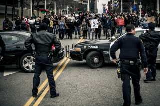 Protesters took the streets of downtown Cleveland, Ohio, the