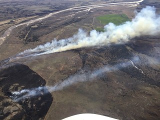 Image: Oklahoma Forestry Services aerial photo of the 350 Complex fire northwest of Oklahoma City