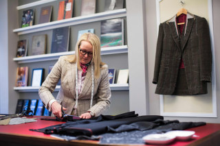 Image: British Master Tailor Kathryn Sargent at her shop on Savile Row
