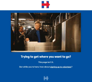IMAGE: Clinton campaign 404 page