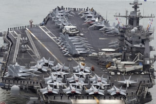 Image: The Nimitz-class aircraft carrier USS John C. Stennis arrives to join the annual Key Resolve military exercise conducted by South Korea and the U.S., at a port in Busan
