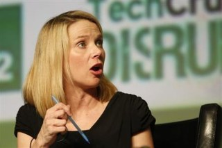 Yahoo! CEO Mayer speaks during TechCrunch Disrupt SF 2012 in San Francisco
