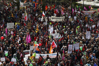 Image: Protesters demonstrate against TTIP free trade agreement ahead of U.S. President Obama's visit in Hannover