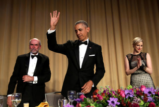 Image: President Barack Obama waves at the White House Correspondents' Association annual dinner in Washington