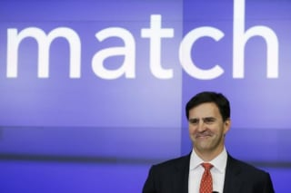 Greg Blatt, chairman of Match Group, takes part in celebrations for the company's IPO at the NASDAQ stock exchange