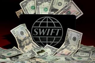 Photo illustration of the SWIFT logo