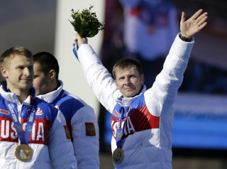 Image: The Russian team waves