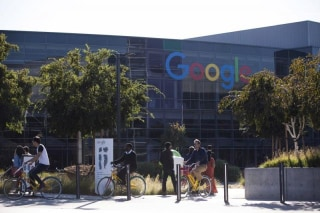 The new Google logo is seen at the Google headquarters in Mountain View, California