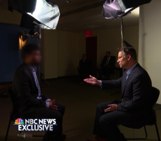Richard Engel interviews a subject for an NBC News exclusive.