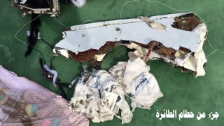 Image: A handout image from the Egyptian military of debris recovered Friday from crashed flight EgyptAir MS804