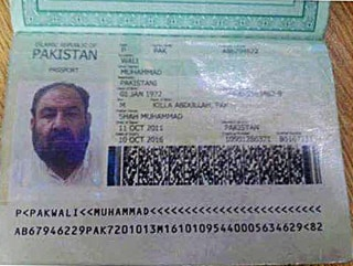 Image: alledged Mullah Akhtar Mohammad Mansoor passport