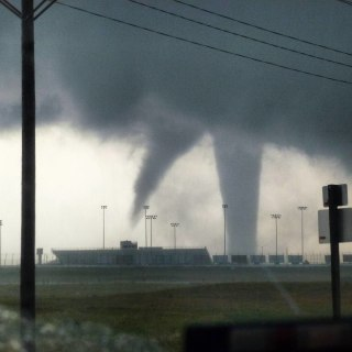IMAGE: Twin funnel clouds near Dodge City, Kansas