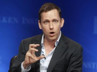 Thiel, partner of Founders Fund, speaks during the panel discussion at the Milken Institute Global Conference in Beverly Hills, California