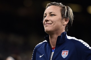 Image: Abby Wambach, who scored a record-setting number of goals for the United States, married another female professional soccer player in 2013.