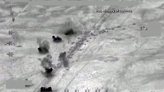 Image: Screengrab showing Iraqi airstrikes targeting ISIS near Fallujah