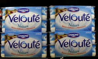 Yoghurt by French foods group Danone are seen on shelves at a Carrefour hypermarket in Nice