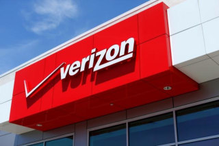 The logo of Dow Jones Industrial Average stock market index listed company  Verizon is seen in  San Diego, California