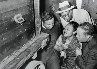 Mamie Bradley Weeping at Arrival of Slain Son