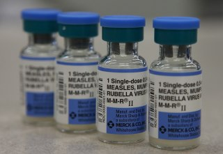 Image: Vials of measles, mumps and rubella vaccine