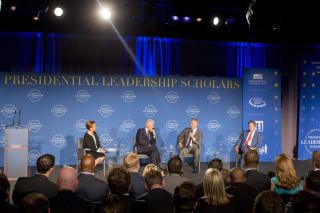 IMAGE: Bush, Clinton and Blair in Arkansas