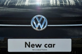 File photo of signage for a new Volkswagen car seen at a dealership in London