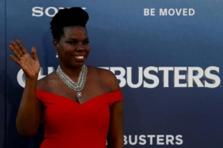 "Cast member Jones poses at the premiere of the film ""Ghostbusters"" in Hollywood"