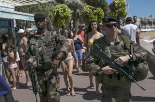 Image: French soldiers patrol the Promenade in Cannes