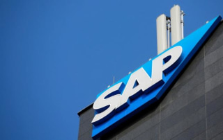 The logo of German software group SAP AG is pictured in Vienna