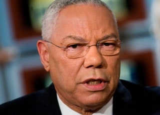 "Image: Colin Powell appears on ""Meet the Press"" on Oct. 19, 2008"