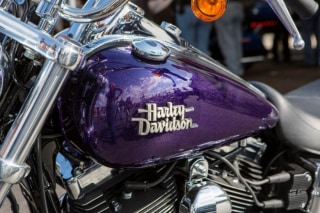 A Harley-Davidson motorcycle is pictured at the Harley-Davidson Museum in Milwaukee, Wisconsin