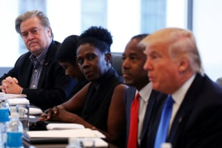 Image: Bannon CEO of Republican presidential nominee Trump's campaign is pictured during a round table with the Republican Leadership Initiative at Trump Tower in the Manhattan borough of New York