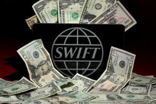 Photo illustration of the SWIFT logo