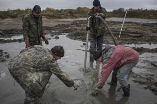 Image: Illegal miners seeking amber in Kaliningrad, Russia