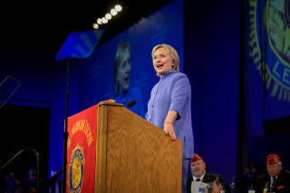 Image: Democratic presidential nominee Hillary Clinton addresses the National Convention of the American Legion in Cincinnati