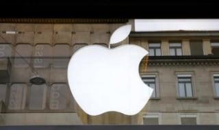 Logo of U.S. technology company Apple is seen in Zurich