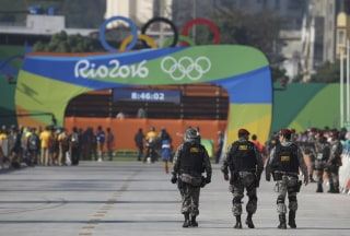 Image: Security officers patrol at Sambodromo