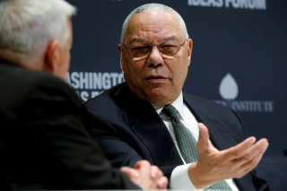 Image: Former U.S. Secretary of State Powell takes part in an onstage interview with Aspen Institute President and CEO Isaacson at the Washington Ideas Forum in Washington