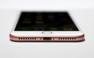 An iPhone 7 is displayed during an Apple media event in San Francisco