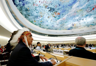 Image: Dave Archambault II chairman of the Standing Rock Sioux tribe waits to give his speech against the Energy Transfer Partners' Dakota Access oil pipeline at the U.N. in Geneva