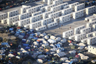 "Image: An aerial view shows ""The Jungle"" in Calais, France"