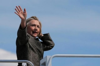 U.S. Democratic presidential nominee Hillary Clinton boards her campaign plane in Charlotte