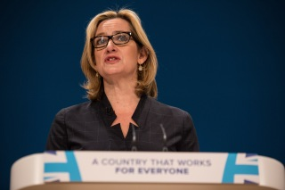 Image: Amber Rudd delivers her speech to at the conference of Britain's Conservative Party.