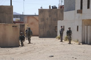 Image: Afghan Uniform Police and soldiers from the U.S. Army 4th Brigade Combat Team train at National Training Center at Ft. Irwin California