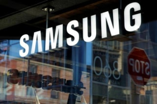 Signage is seen at the Samsung 837 store in the Meatpacking District of Manhattan, New York, U.S.