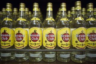 Image: Bottles of Havana Club rum are displayed inside a shop in Havana