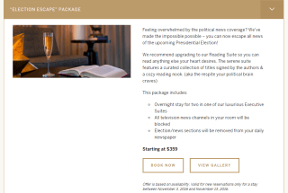 Hotel Commonwealth Election Escape Package