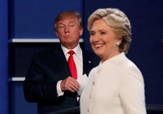 Image: Republican U.S. presidential nominee Donald Trump and Democratic U.S. presidential nominee Hillary Clinton finish their third and final 2016 presidential campaign debate at UNLV in Las Vegas