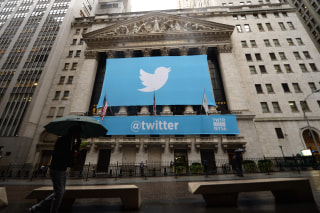 Image: A Twitter banner hangs outside the New York Stock Exchange